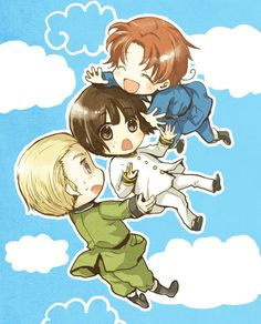 We fall together! Ludwig, Kiku, and Feliciano/ Germany, Japan, Italy (Hetalia!)