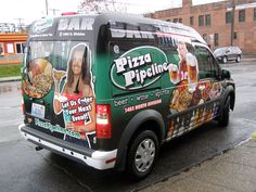 Vehicle Wrap for The Bar at Pizza Pipeline - Design / Print / Install By Cassel Promotions & Signs. (Spokane)
