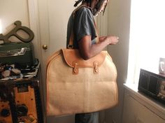 Vintage Linen and Leather Garment Bag - Google Search