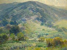 """Quiet Hills"" by Hanson Puthuff, American artist famous for his California landscapes, 1875-1972"