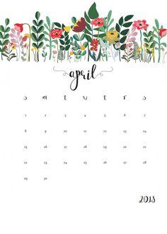April 2018 Calendar Floral Designs