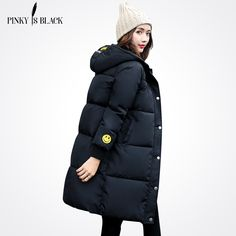 Pinky Is Black 2017 Winter jacket Women Warm High Quality Smiling Face Woman Parkas With Hood Letter Winter Women Coat Jacket -- Click the image to visit www.aliexpress.com #Womensjackets