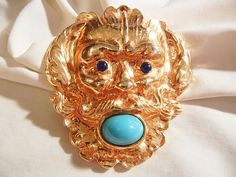 Happy Holidays! Many items Holiday sale priced with 20 to 60% off Visit my Plaza shop open till 12/31 Fantastic huge Runway Lion Simulated turquoise Lapis color Brooch from vintageshari on Ruby Lane