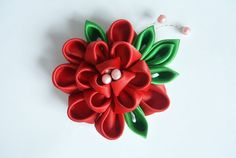 Red Peony Kanzashi Hair Clip by Ivanna on Etsy, $25.00