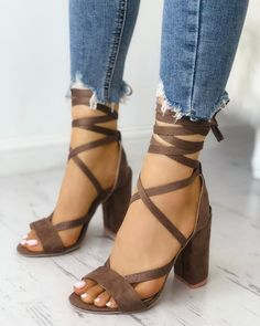 Shop Solid Strappy Chunky Heeled Sandals right now, get great deals at Joyshoeti… – Sapatos Noiva Lace Up Heels, Ankle Strap Heels, Pumps Heels, Stiletto Heels, High Heels, Heeled Sandals, Sandals Outfit, Strappy Chunky Heels, Flat Sandals