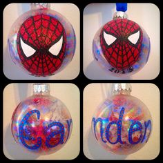 Hand Painted Spiderman Ornament by WattsGoodArtistry Follow my art today on Facebook and Etsy! https://www.facebook.com/wattsgoodartistrydesigns