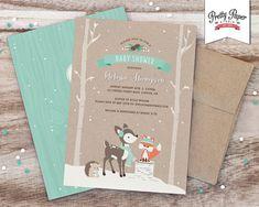 Winter Woodland Baby Shower Invitation // by ThePrettyPaperStudio