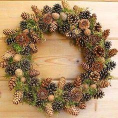 Pinecone and walnut wreath, $72