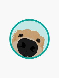 'Golden Retriever' Sticker by ProjectAmity Perros Golden Retriever, Golden Retriever Cartoon, Golden Retriever Training, Golden Retriever Art, Golden Retrievers, Cute Dogs Breeds, Dog Logo, Dog Illustration, Retriever Puppy