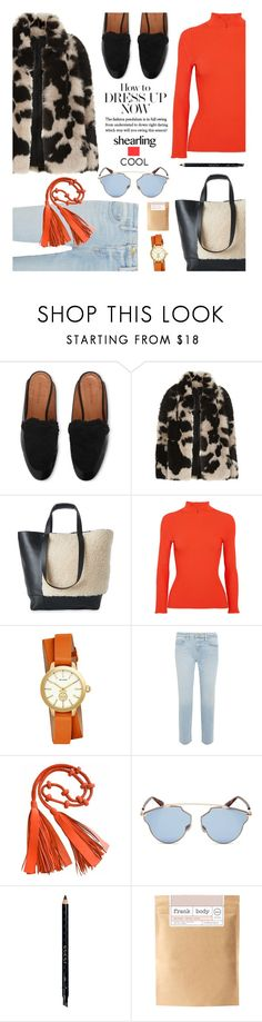 """""""How to dress up now: Shealing"""" by hamaly ❤ liked on Polyvore featuring Ganni, Tory Burch, Frame, Christian Dior, Gucci, Frank Body, outfit, ootd, trends and Shearling"""