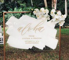 Aloha Hand Painted Acrylic Sign by Hawaii Calligraphy