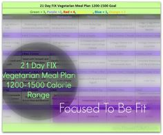 Focusing on the Fix {Vegetarian Meal Plan} - 1200-1500 Calories www.Focusedtobefit.com