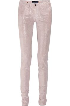glitter finish stretch leather skinnies? best believe i'd get my thick thighs in these!