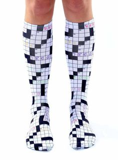 Crossword Knee High Socks from Living Royal. Saved to gifts for other people. Shop more products from Living Royal on Wanelo. Funky Socks, Crazy Socks, Cute Socks, My Socks, Boot Socks, Thigh High Boots Heels, Thigh High Socks, Heel Boots, Thigh Highs