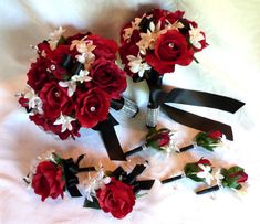 Red rose bridal bouquet in red white black wedding bouquet and boutonniere package
