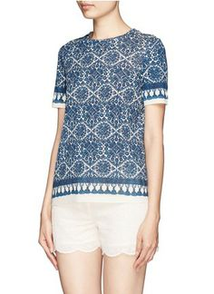 Printed with crochet on the bodice and tassels on the sleeves and the hem, this pima cotton T-shirt from Tory Burch is a chic and high-quali Brands Online, Tassels, Branding Design, Tory Burch, Chic, Blouse, My Style, Crochet, Sleeves