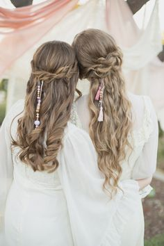 half up curled and beaded wedding hair