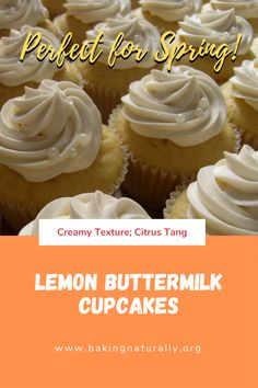 Creamy texture with a Citrus tang, these buttermilk cupcakes are perfect for that spring gathering or to share with neighbors. In both regular and high-altitude versions. Includes Lemon Cream Cheese Frosting recipe.