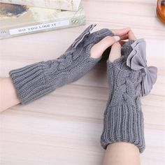 Clearance Sale Auwer 1 Pairs Womens Long Fingerless Gloves Arm Warmers Knit Thumbhole Stretchy Gloves