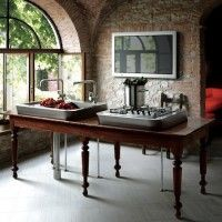 Rustic Farm Table Turned Contemporary Kitchen