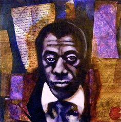 James Baldwin, 12x12 Mixed Media on Canvas Board. Bryan Tilford