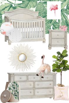 This Tropical Flamingo Nursery Design is Pure Paradise - Project NurseryYou can find Paradise and more on our website.This Tropical Flamingo Nursery Design is . Girl Nursery Themes, Nursery Design, Nursery Room, Nursery Decor, Tropical Nursery Furniture, Nursery Ideas, Nursery Furniture Sets, Project Nursery, Happy Baby