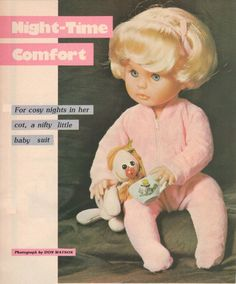 Night-time Comfort, a baby suit for First Love Doll. Woman's Value, October 1982 issue. Cosy Night In, Baby Suit, No One Loves Me, Vintage Dolls, Little Babies, Night Time, Baby Dolls, Print Patterns, Doll Clothes