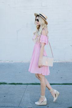 Dash of Darling: Pink Ruffled Off Shoulder Dress
