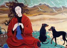 'Girl In A Red Blanket' By Painter Dee Nickerson. Blank Art Cards By Green Pebble. www.greenpebble.co.uk