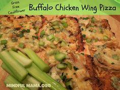 Buffalo Chicken Wing Pizza- Cauliflower Crust