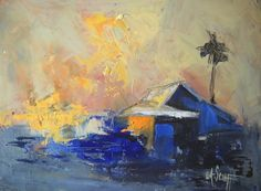 Abstract Landscape Daily Painting Fire in the by CarolSchiffStudio, $155.00