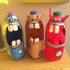 totem+poles+from+laundry+detergent+bottles | Upcycled Recycled 4 pint milk bottle storage monsters! Great for kids!