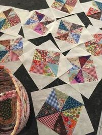 Scrappy Pinwheel in a Square. Three challenges in one! I'm so excited to share this new block with you all! Making a pinwheel block is a challenge, but then so is a square in a square block, – cutting all those extra triangles and then getting them lined Quilting Tutorials, Quilting Projects, Quilting Designs, Sewing Projects, Quilting Ideas, Triangle Quilt Tutorials, Scrappy Quilts, Mini Quilts, Patchwork Quilting