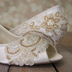 Custom Wedding Shoes Light Ivory Peeptoe by DesignYourPedestal
