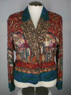Carole Little Jacket One Button Red Orange Blue Rust Rayon Germany 14