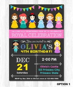 Disney Princess Invitation Princess Birthday by KidzParty on Etsy