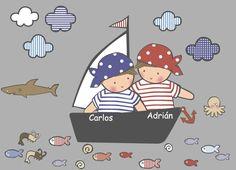 Vinilos infantiles: Piratas - Vinilo de corte . Piezas que componen la colección: 2 niños piratas en barco de vela, 5 nubes, 10 peces, 2 gambas, 3 caracolas,1 pulpo, 1 tiburón. altura barco = 64 cm. Ancho barco y niños= 62 cm. ¿Quieres algún cambio? En estatura de los niños, o quieres que sean 2 niñas, o quieres uno rubio y otro pelirrojo...Contacta con Stencil barcelona y nos lo cuentas