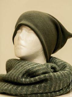 Купить Трикотажная шапочка и шарф снуд - серый, однотонный, снуд, трикотажная шапочка, трикотажная шапка