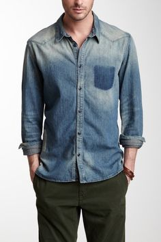 Mended Denim Shirt Denim Shirt Men, Denim Jeans, Denim Fashion, Fashion Outfits, Inspiration Mode, Ootd, Gentleman Style, Stylish Men, Casual Shirts For Men