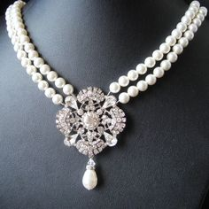 Statement Bridal Necklace, Art Deco Wedding Jewelry, Ivory Pearl Wedding Necklace, Vintage Style Bridal Jewelry, Rhinestone Necklace, LOUISE