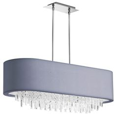 JAS-41C-PC-923 | 8 Light Oval Crystal Chandelier, Polished Chrome, Silver Lycra Shade - JAS-41C-PC-923