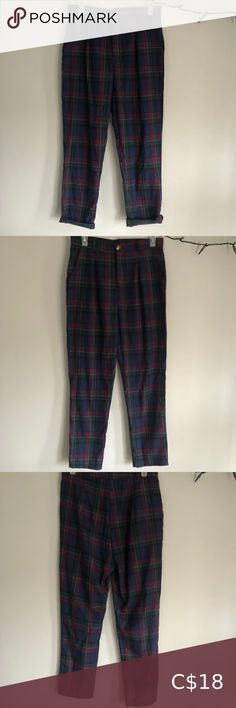 High-waisted plaid pants BNWOT- never worn Super light and comfortable, these plaid pants are high waisted and pair nicely with a cuffed ankle and boots :) Can be worn casually as a grunge outfit or dressed up Pants & Jumpsuits Plaid Pants, Trouser Pants, Super Skinny Jeans, Skinny Pants, Old Navy Harper Pants, Zara Jumpsuit, Maroon Leggings, Rompers Dressy, Black Leather Pants
