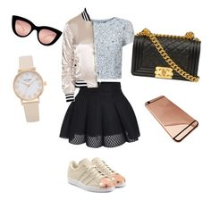 """Look para el Miercoles"" by luciaysuscositas on Polyvore featuring Adrianna Papell, Topshop, adidas Originals and Quay"