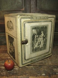 Fabulous Early Old Antique SCHEPPS Tin Cake Box – Incredible Graphics – Hinged Door  $245