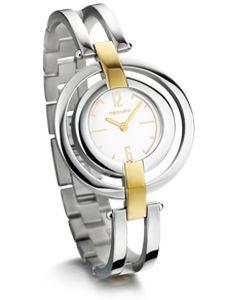 Montre Rodania Dame dont le bracelet et le boitier sont en acier. Le boitier et le cadran design sont bicolores plaqué jaune.