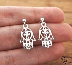 Sterling Silver Earrings Hamsa, Hamsa pendant, earrings Hamsa, Hamsa silver, silver delicate little Hamsa, Hamsa Hand of Fatima, hand amulet