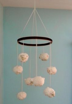 DIY Tutorial: DIY Nursery Mobiles / DIY Little Lamb Nursery Mobile - Bead&Cord the lambs are really sweet and cute