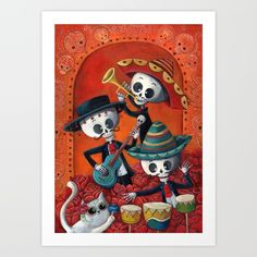 Celebrations during Dia de Muertos (Day of The Dead) in Mexico are quite spectacular. These three musical skeletons are always playing on this special holiday. They are wearing traditional Mexican outfits and playing folk music for eternity!