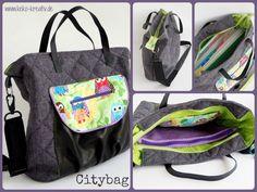 Citybag anthrazit, grün, lila mit Eulen. Made by Keko-Kreativ.