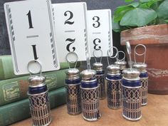Cobalt Blue Table Number Holders Repurposed Silverplate Salt Pepper Shakers Wedding Table Number Holders, Wedding Table Numbers, Budget Wedding Photos, Vintage Table Numbers, Country Barn Weddings, Salt Pepper Shakers, Cobalt Blue, Silver Plate, Repurposed